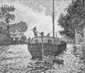 Signac 1902 Samois, le chaland - décrassage, nettoyage